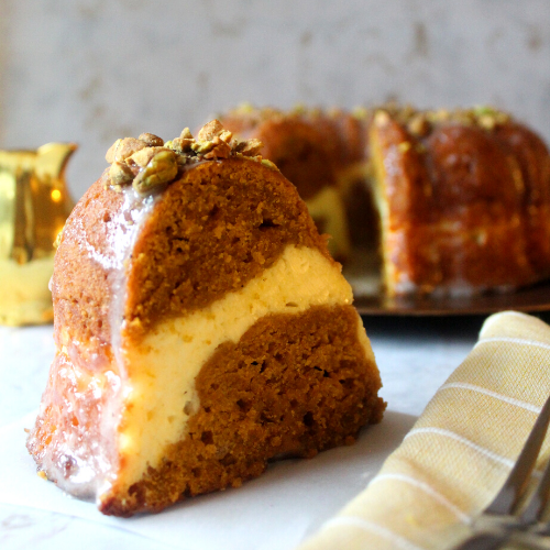 slice of pumpkin spice pound cake for blog post featured image